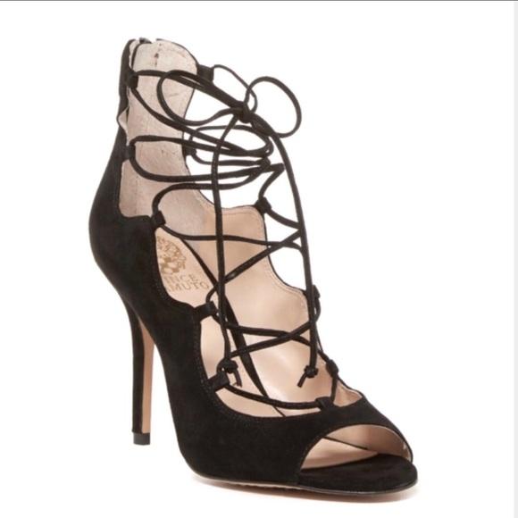 d6d96510c0912 Vince Camuto black suede lace up peep toe sandals.  M_5b7380407c979db6bb9601ff